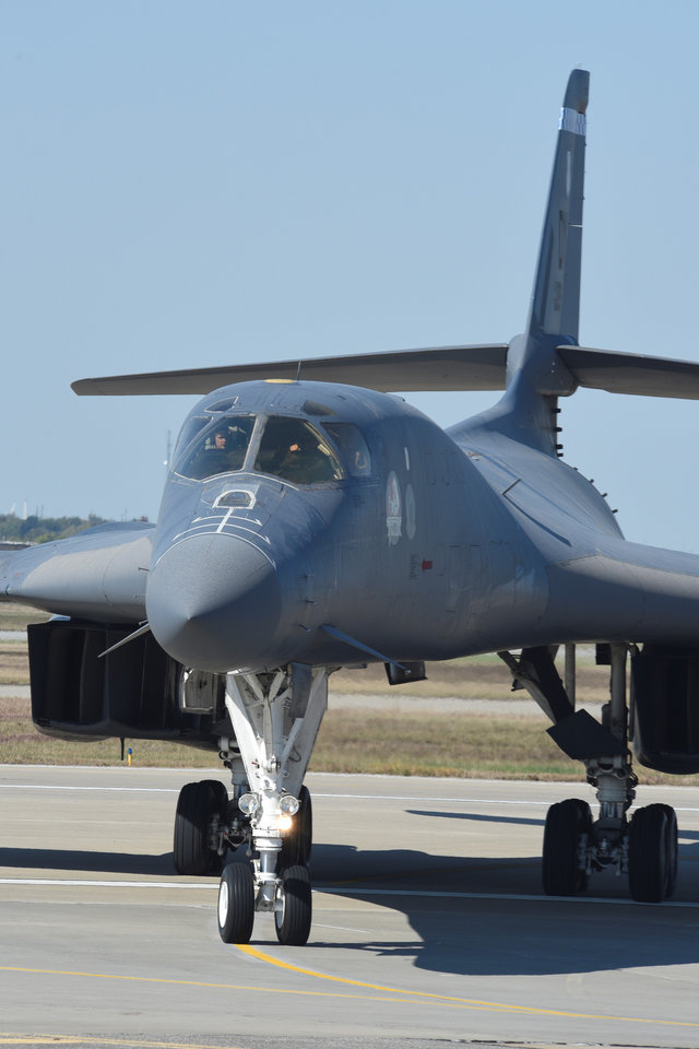 Photo -  A B-1B Lancer arrives at Tinker Air Force Base in late October for maintenance and repairs. Boeing's Oklahoma City engineering capability center supports much of that work. [Photo by Greg L. Davis, U.S. Air Force]