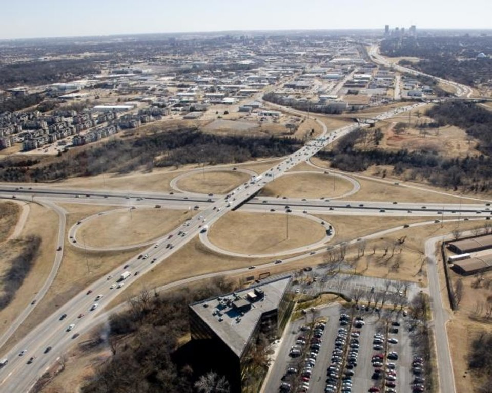Photo -  The I-235/I-44 junction was carrying twice its designed capacity before reconstruction began seven years ago. [OKLAHOMAN ARCHIVES]
