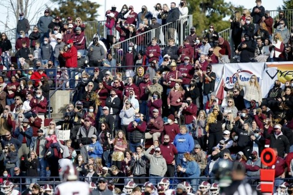 Photo - Jenks fans cheer during the Class 6A-1 state high school football championship game between Edmond Santa Fe and Jenks at Wantland Stadium in Edmond, Okla., Saturday, Dec. 5, 2020. [Sarah Phipps/The Oklahoman]
