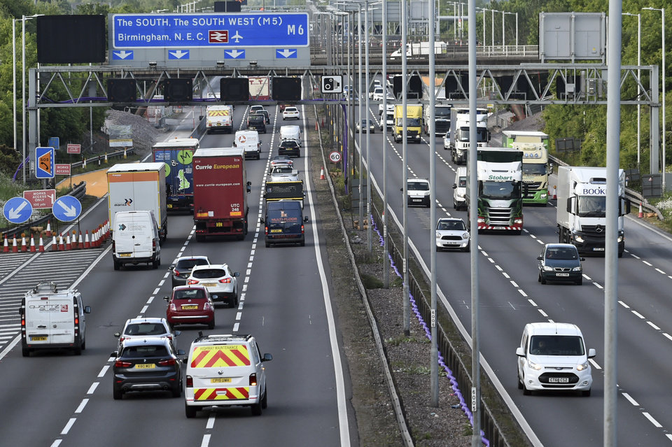 Photo -  Traffic moves along the M6 motorway near Birmingham,  England, on May 18. [Rui Vieira/Associated PRess file photo]