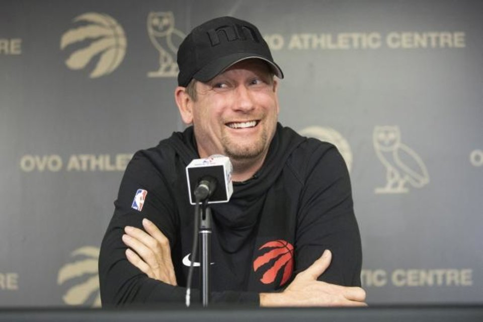 Photo -  Nick Nurse had plenty to smile about after winning his first NBA title on June 16. [Chris Young/The Canadian Press via AP]