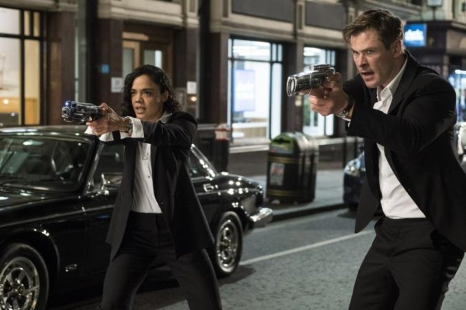 Photo -  This image released by Sony Pictures shows Tessa Thompson and Chris Hemsworth in a scene from Columbia Pictures'