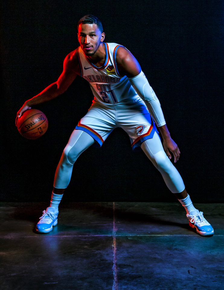 Photo - Andre Roberson (21) poses for a photo during the Oklahoma City Thunder media day at the Chesapeake Energy Arena in Oklahoma City, Okla. on Monday, Sept. 30, 2019.  [Chris Landsberger/The Oklahoman]