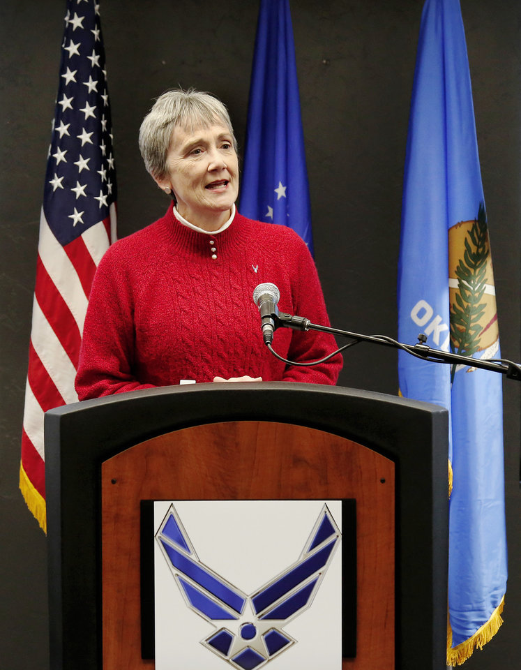 Photo -  U.S. Air Force officials have selected Tinker Air Force Base to provide maintenance for the B-21 Raider once the bomber comes online in the mid-2020s, Air Force Secretary Heather Wilson announced at a news conference at the base Friday afternoon. [Photo by Jim Beckel, The Oklahoman]