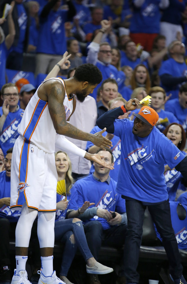 ad0360ae07a Oklahoma City s Paul George (13) celebrates a basket at the end of the  third quarter during Game 1 in the first round of the NBA playoffs between  the ...