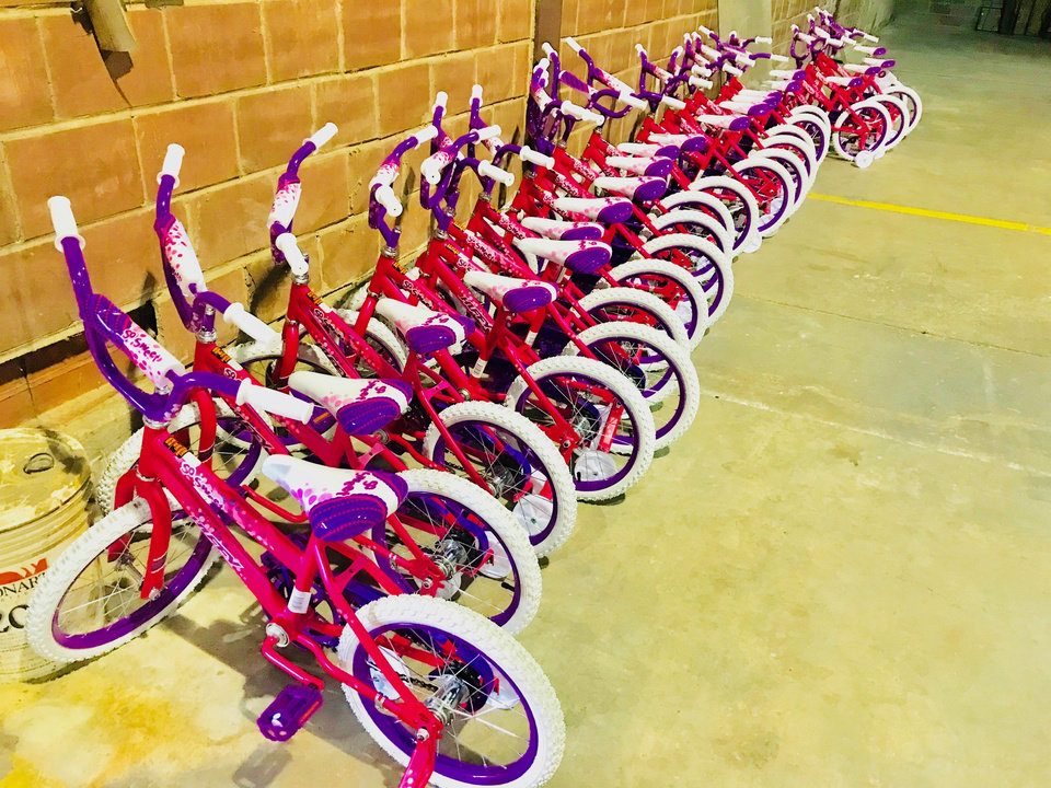 Photo -  A row of bicycles for little girls is shown at The Salvation Army's 2017