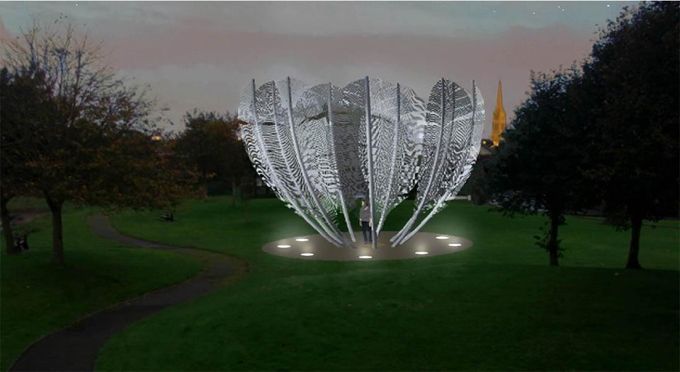 "Photo -  Sculptor Alex Pentek's ""Kindred Spirits"" is shown in this drawing. The piece will be unveiled in May in a park in Middleton, Ireland. Image provided"