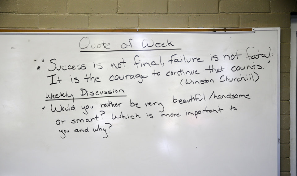 Photo - A white board in a classroom at FAME Academy, an alternative school in Comanche Public Schools, in Meridian, Okla., Wednesday, Oct. 3, 2018. Photo by Nate Billings, The Oklahoman