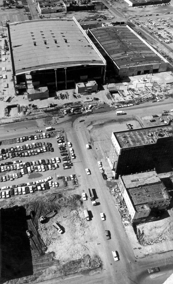 Photo -  Entire street grids were cleared and streets were eliminated during the early 1970s to make way for the Myriad gardens and what was then known as the Myriad Convention Center. The street grid on the convention center site is set to be restored for redevelopment when the former Myriad, now known as the Cox Convention Center, is torn down and replaced by the new convention center. [The Oklahoman Archives]