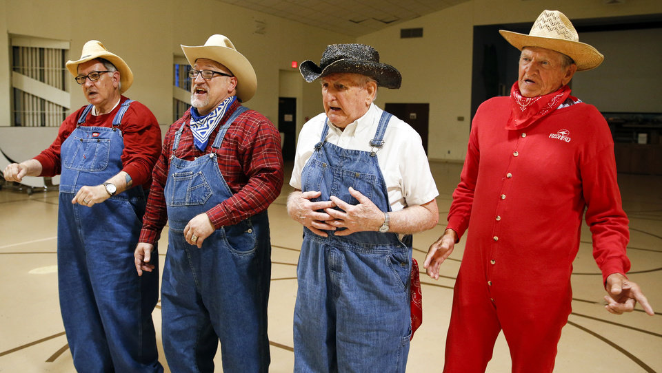 Photo -  From left, Oklahoma Seniors Cabaret performers Ron Mollet, Robert Burrall, Charles Jones and Alton Scott rehearse Monday at Messiah Lutheran Church in Oklahoma City. [Photo by Nate Billings, The Oklahoman]