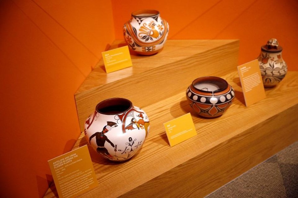 Photo - Clay pots are pictured on display in the