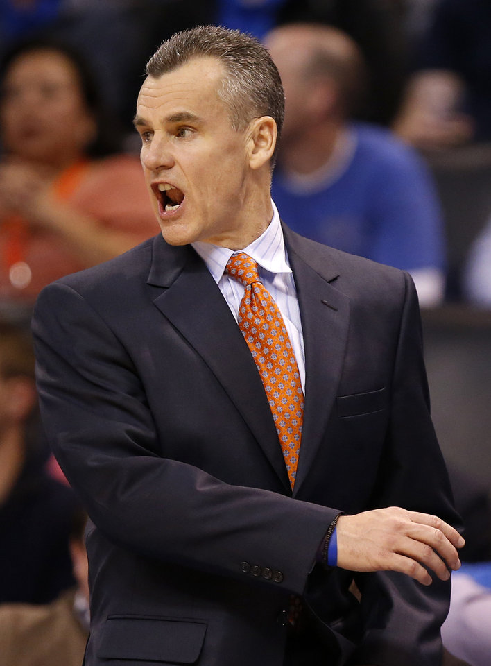 Photo - Oklahoma City coach Billy Donovan during an NBA basketball game between the New Orleans Pelicans and the Oklahoma City Thunder at Chesapeake Energy Arena in Oklahoma City, Thursday, Feb. 11, 2016. Oklahoma City won 121-95. Photo by Nate Billings, The Oklahoman