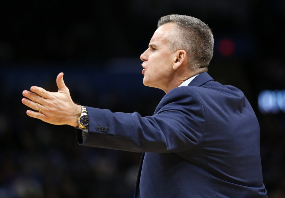 Photo - Thunder coach Billy Donovan yells at officials before receiving a technical foul in the second quarter during an NBA basketball game between the Oklahoma City Thunder and the Los Angeles Lakers at Chesapeake Energy Arena in Oklahoma City, Friday, Nov. 22, 2019. [Nate Billings/The Oklahoman]