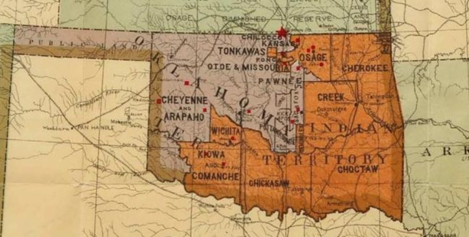 Photo -  This map, an exhibit in the U.S. Supreme Court case about the Creek reservation, shows tribal reservation boundaries before Oklahoma statehood in 1907. [U.S. Supreme Court]