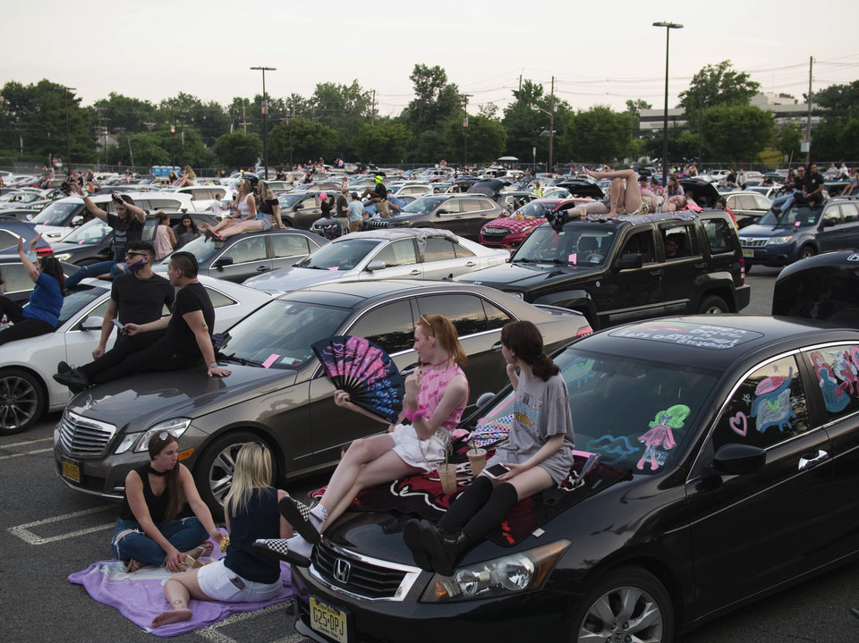 Photo - This photo provided by Polk Imaging shows Drive 'N Drag at Westfield Garden State Plaza, in Paramus, N.J.  After being closed for months due to the pandemic, malls are bringing all types of drive-in entertainment to their massive parking lots, hoping to lure people back to their properties.  (Dave Kotinsky/Polk Imaging for Westfield via AP)