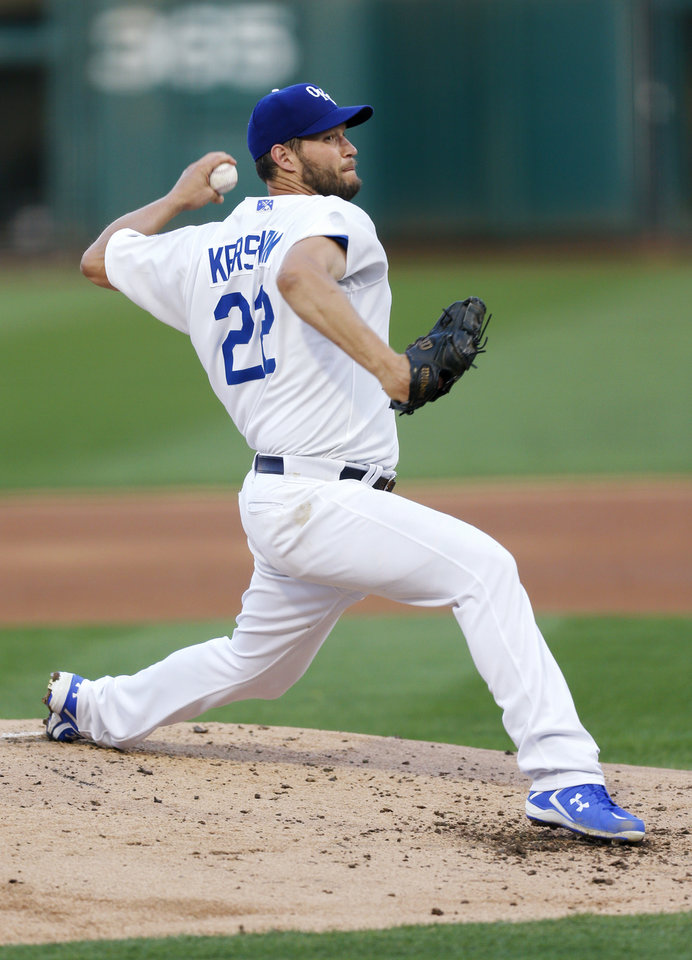 Photo - Clayton Kershaw pitches for Oklahoma City in the second inning during a minor league baseball game between the San Antonio Missions and the Oklahoma City Dodgers at the Chickasaw Bricktown Ballpark in Oklahoma City, Thursday, April 4, 2019. Kershaw pitched four and a third innings in the rehab start. Photo by Nate Billings, The Oklahoman