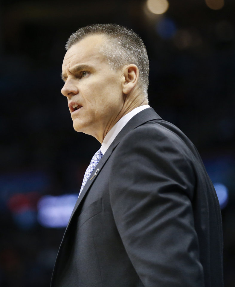 Photo - Oklahoma City coach Billy Donovan during an NBA basketball game between the Oklahoma City Thunder and the Sacramento Kings at Chesapeake Energy Arena in Oklahoma City, Monday, March 12, 2018. Photo by Nate Billings, The Oklahoman