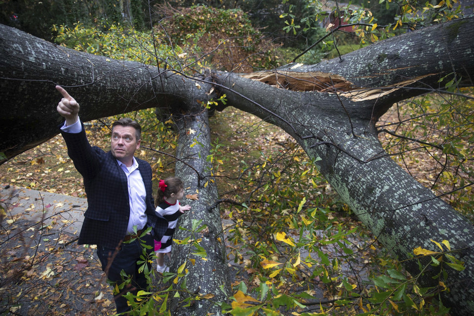 Photo - Lee Hicks points to part of a tree that fell in his yard as his neighbor's daughter, Margaret Cullens, 4, stands nearby following a severe thunderstorm that passed through Atlanta, Wednesday, Nov. 30, 2016. The National Weather Service says a tornado has touched down near Atlanta as heavy storms continue to sweep through parts of the southern region. (Branden Camp/Atlanta Journal-Constitution via AP)