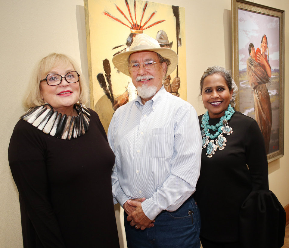 Photo - Joy Reed Belt, Mike Larson and Stella Thomas, at the Western Heritage Brunch at JRB Art at the Elms gallery, Sunday, June 11, 2017. Photo by Doug Hoke