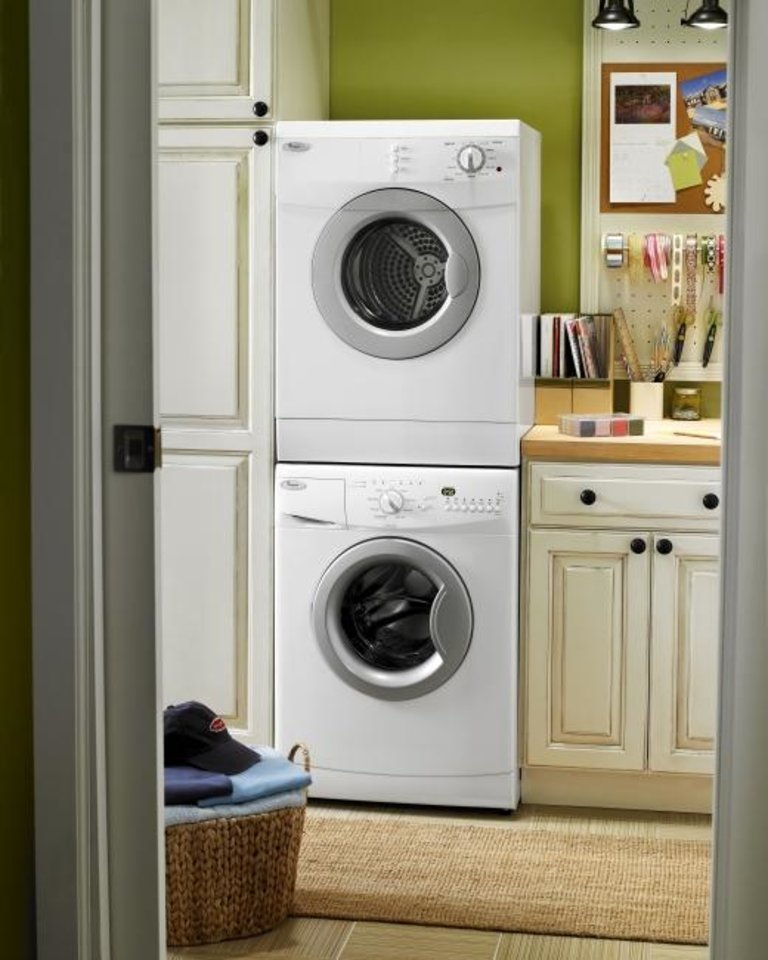 Photo -  For space-constrained customers, Whirlpool has a variety of stackable 24-inch-wide models. [WHIRLPOOL]