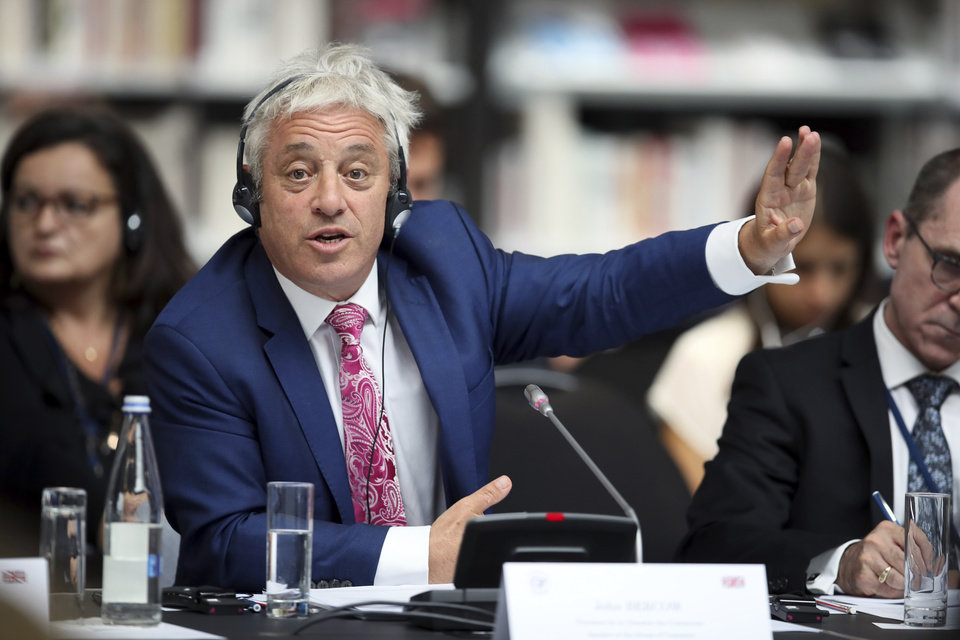 Photo -  FILE - In this Friday, Sept. 6, 2019 file photo, Speaker of the House of Commons John Bercow gestures during a meeting at the G7 parliaments summit, in Brest, western France. A colorful era in British parliamentary history is coming to a close with Speaker of the House John Bercow's abrupt announcement Monday, Sept. 9, 2019 that he will leave his influential post by the end of October. (AP Photo/David Vincent, file)