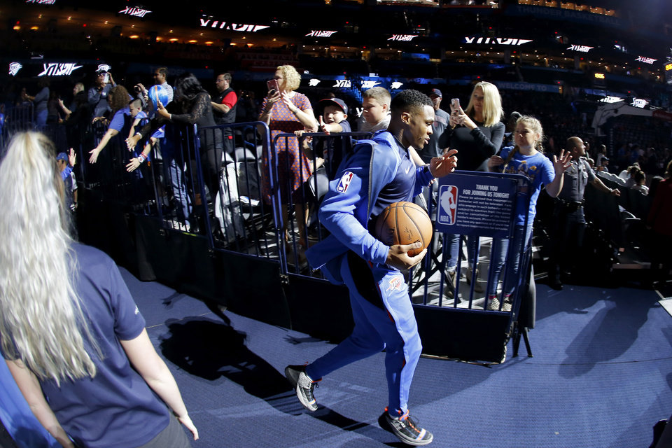 Photo - Oklahoma City's Russell Westbrook takes the court before an NBA basketball game between the Oklahoma City Thunder and the Sacramento Kings at Chesapeake Energy Arena in Oklahoma City, Sunday, Oct. 21, 2018. Photo by Bryan Terry, The Oklahoman