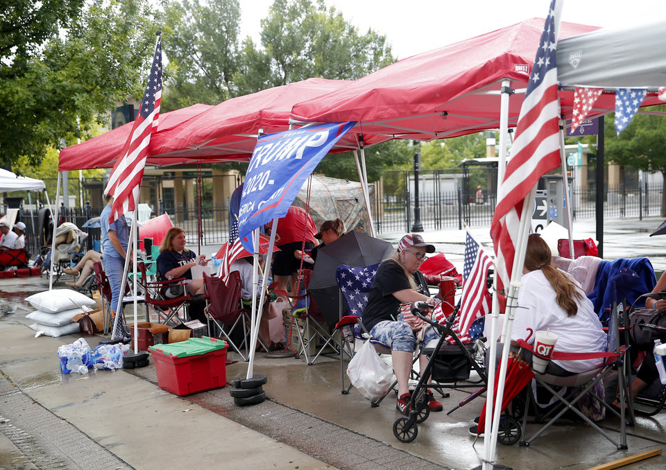 Photo - Trump supporters camp in downtown Tulsa, Okla., ahead of President Donald Trump's Saturday campaign rally, Friday, June 19, 2020. [Sarah Phipps/The Oklahoman]