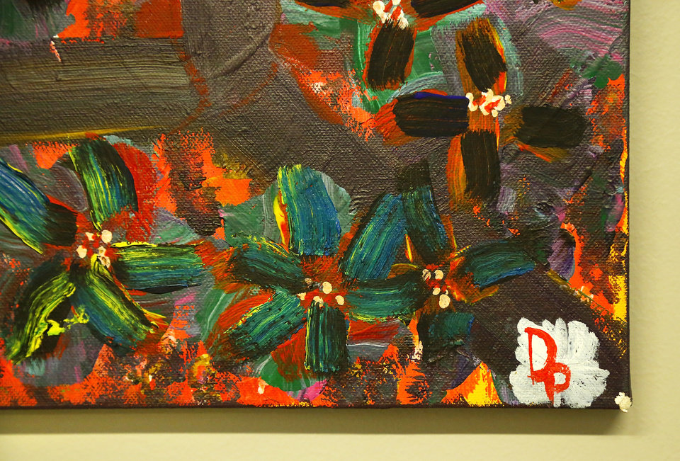 Photo -  A piece of art by Derek Prophet, an art class regular with the fresh stART program at The Homeless Alliance day shelter in Oklahoma City. Police shot and killed Prophet on May 25. Prophet had a police history but was also a prolific artist, his friends say. [Photos by Jim Beckel, The Oklahoman]