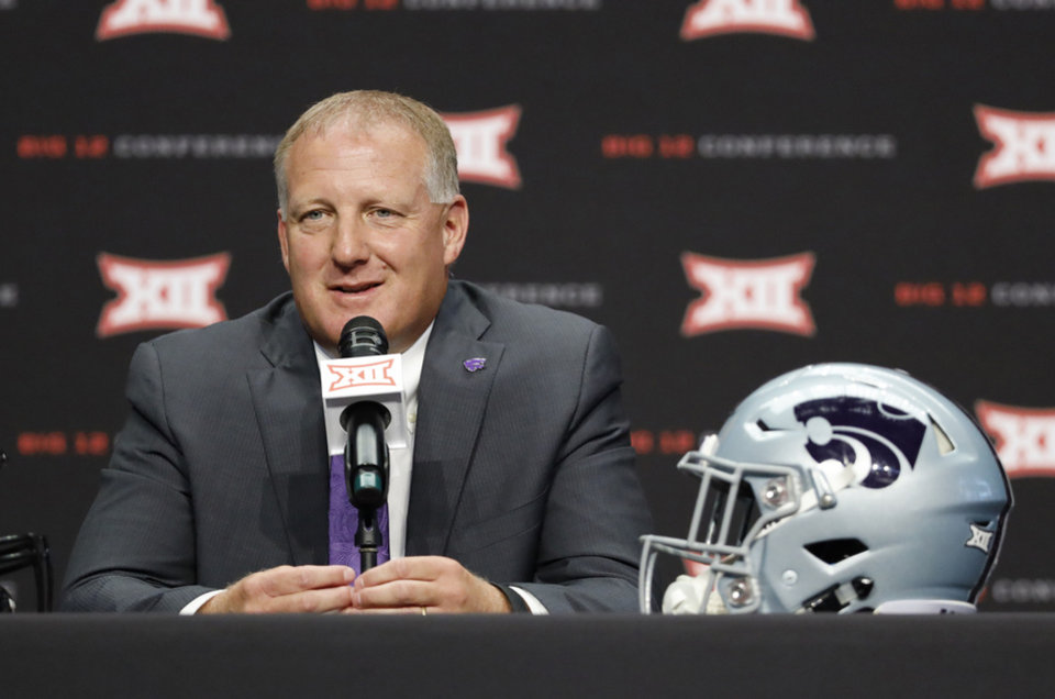 Photo - Kansas State head coach Chris Klieman speaks during Big 12 Conference NCAA college football media day Tuesday, July 16, 2019, at AT&T Stadium in Arlington, Texas. (AP Photo/David Kent)