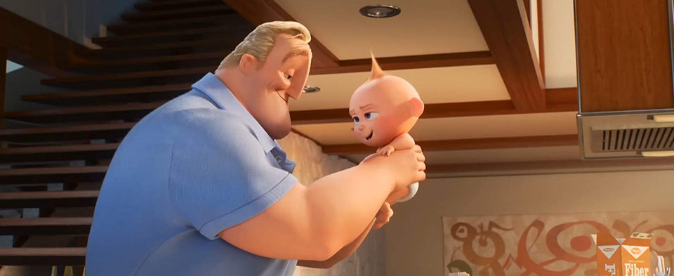 Photo -  Craig T. Nelson reprises his role as the voice of Bob Parr/Mr. Incredible, a hero in hiding and father of three superpowered children, including toddler Jack-Jack (voice Eli Fucile), in Pixar's animated sequel