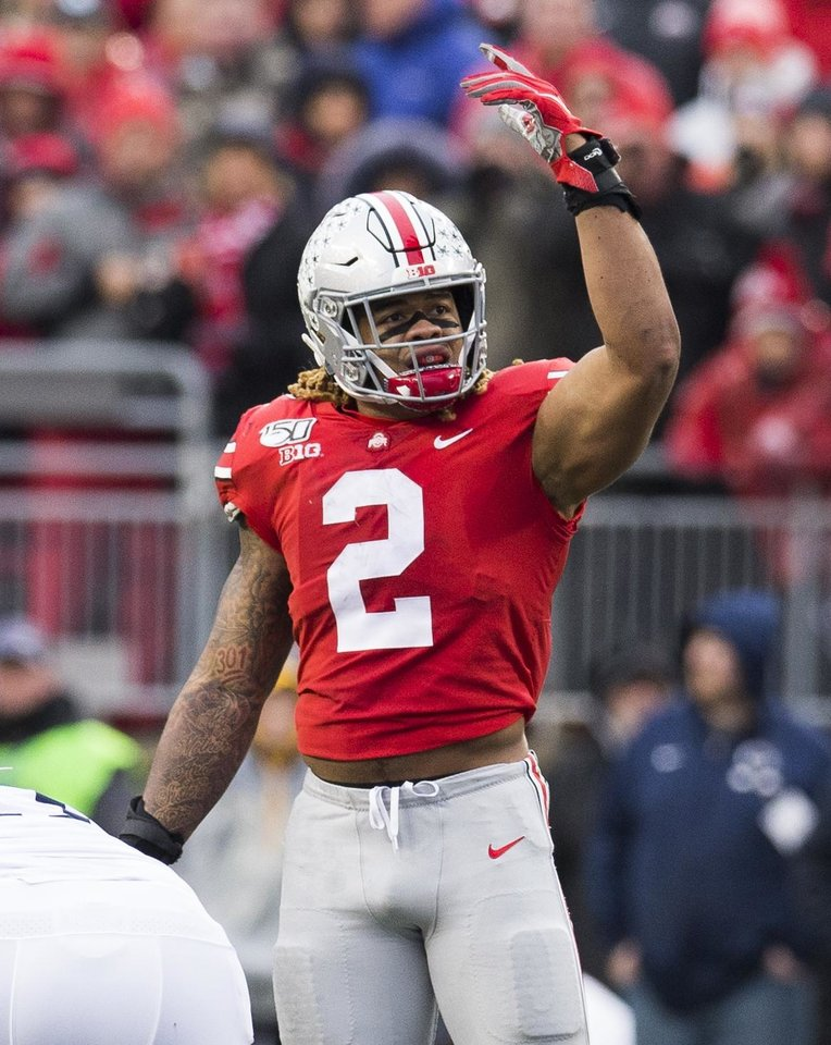 Photo - Nov 23, 2019; Columbus, OH, USA; Ohio State Buckeyes defensive end Chase Young (2) fires up the home fans during the second half against the Penn State Nittany Lions at Ohio Stadium. Mandatory Credit: Greg Bartram-USA TODAY Sports