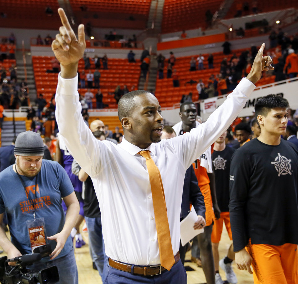 Photo - OSU coach Mike Boynton reacts after a men's college basketball game between the Oklahoma State Cowboys and the TCU Horned Frogs at Gallagher-Iba Arena in Stillwater, Okla., Monday, Feb. 18, 2019. Oklahoma State won 68-61. Photo by Nate Billings, The Oklahoman