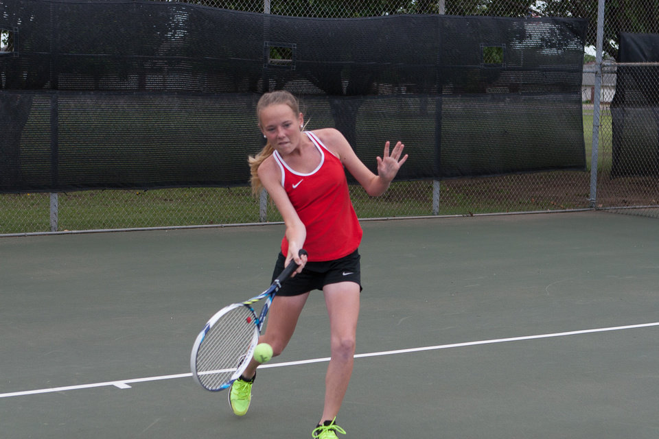 Photo - Haylee Harris made an impression on the tennis court as a junior at Westmoore High School while keeping up a 4.0 GPA in the past year. Photo provided.