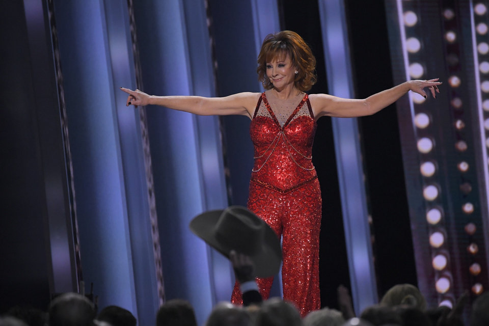 "Photo - Reba McEntire performs ""Fancy"" at the 53rd annual CMA Awards at Bridgestone Arena, Wednesday, Nov. 13, 2019, in Nashville, Tenn. (AP Photo/Mark J. Terrill)"