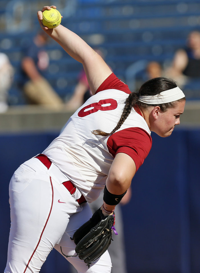 Photo - OU's Paige Parker (8) pitches during the championship game of the Big 12 softball tournament between Oklahoma and Oklahoma State (OSU) at ASA Hall of Fame Stadium in Oklahoma City, Saturday, May 13, 2017. OU won 2-0. Photo by Nate Billings, The Oklahoman