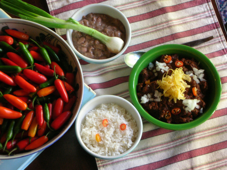 Photo -  Red River Chili, serve with beans and rice ON THE SIDE!