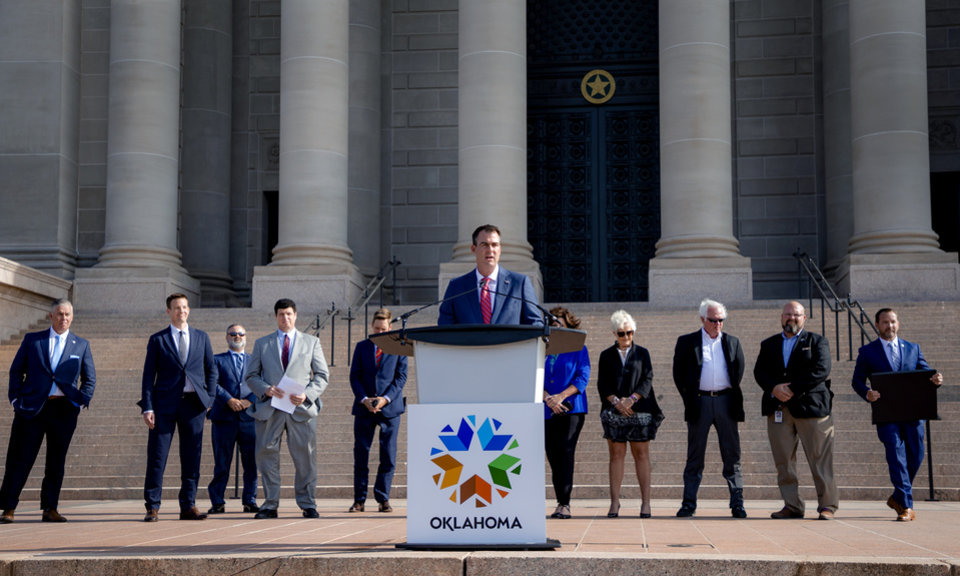 Photo - Gov. Kevin Stitt speaks during a press conference to announce that aerospace company Skydweller Aero will establishing its headquarters in Oklahoma at the Oklahoma State Capitol on Tuesday, June 30, 2020, in Oklahoma City, Okla. [Chris Landsberger/The Oklahoman]