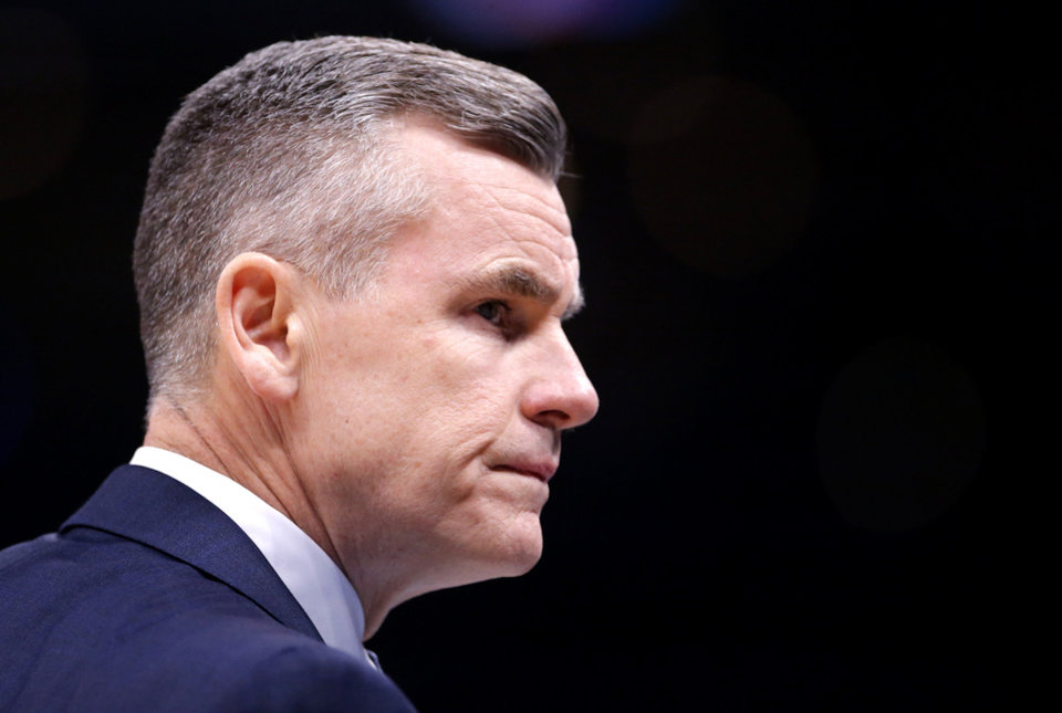 Photo - Oklahoma City head coach Billy Donovan reacts during the NBA basketball game between the Oklahoma City Thunder and the Atlanta Hawks at the Chesapeake Energy Arena in Oklahoma City,Friday, Jan. 24, 2020.  [Sarah Phipps/The Oklahoman]