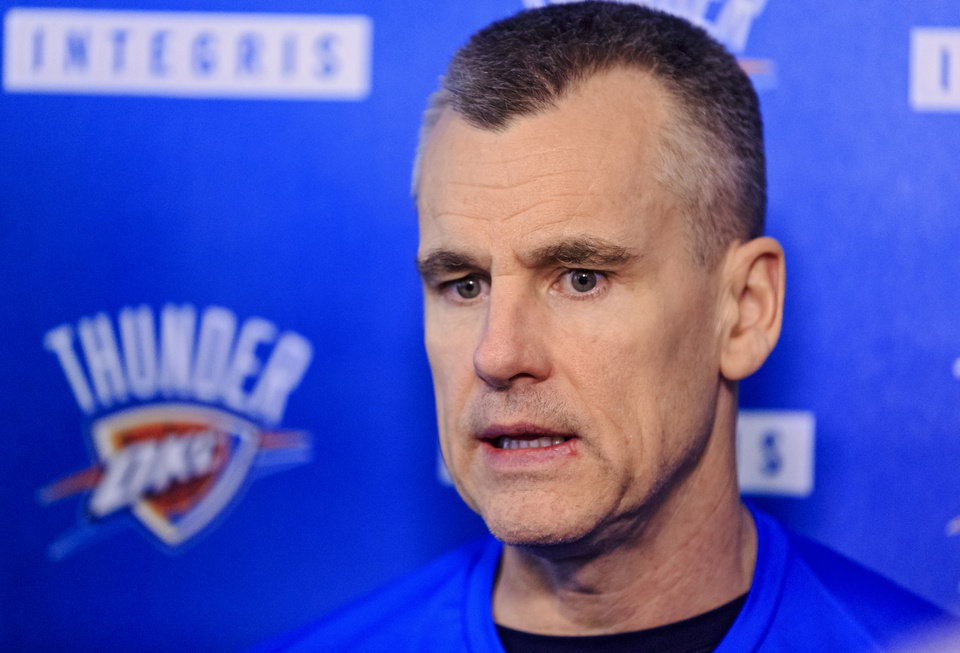 Photo -  Coach Billy Donovan and the Thunder can finish anywhere from fourth to eighth in the Western Conference. [Photo by Chris Landsberger, The Oklahoman]