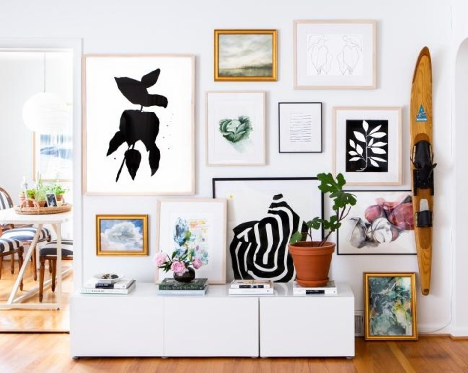 Photo -  An Artfully Walls gallery wall from a home in Ann Arbor, Michigan. [MARTA X. PEREZ]