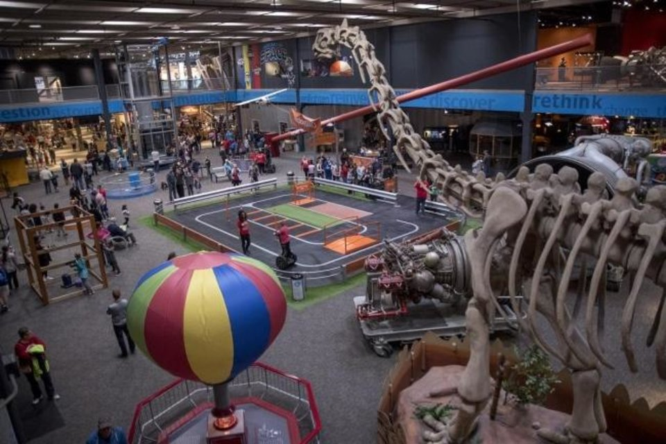 Photo -  Visitors check out the hands-on displays on the Science Floor at Science Museum Oklahoma. [Photo provided]