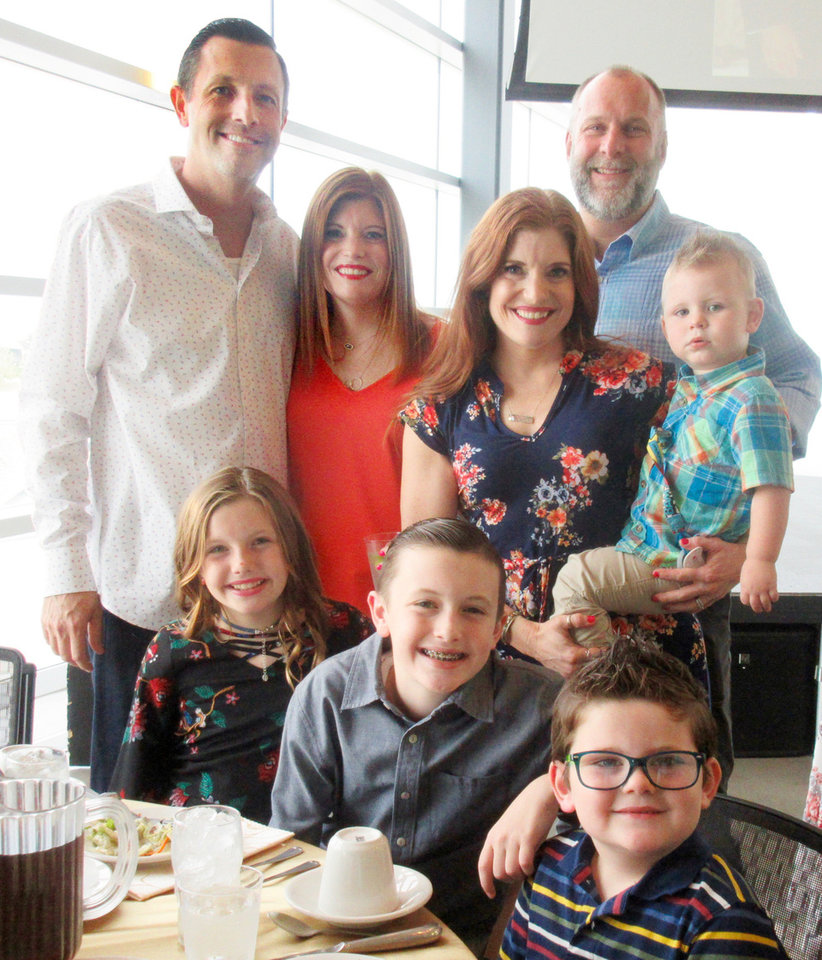 Photo - Jason and Melisa Brooks, Melinda, and Jett, and John Carrell, back, and Jaycee and Jackson Brooks and Tate Carrell. PHOTO BY HELEN FORD WALLACE, THE OKLAHOMAN