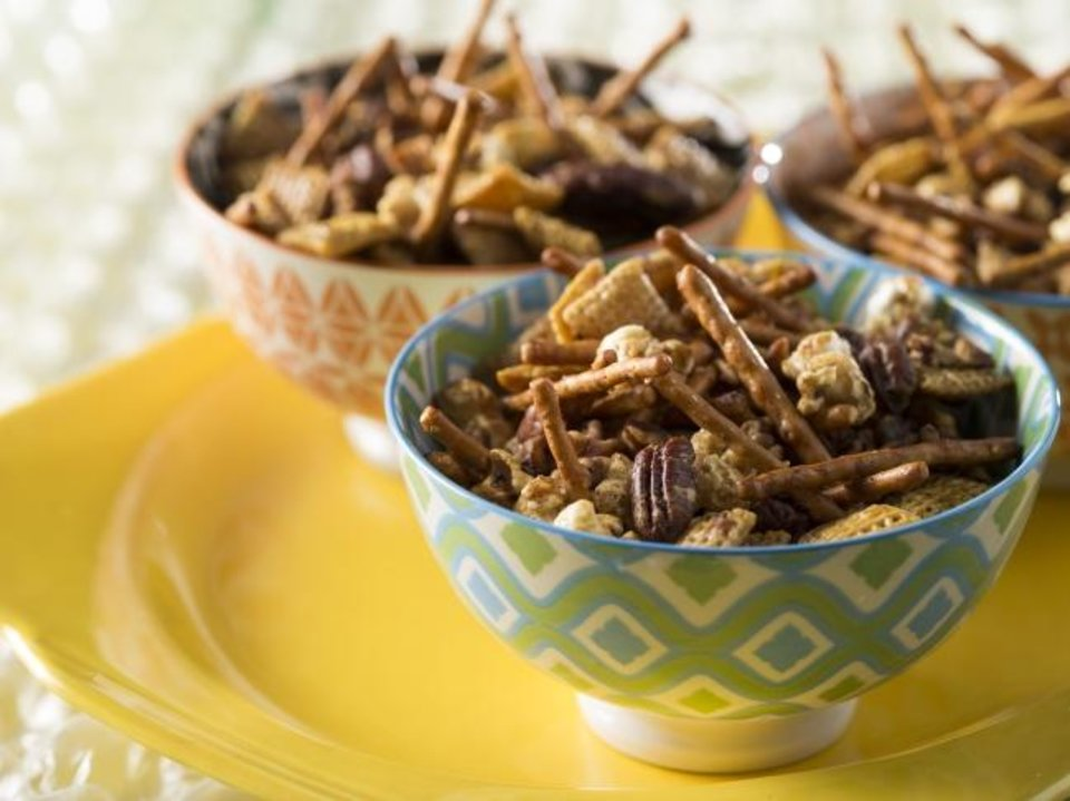 Photo -  This Honey Glazed Sweet and Salty Snack Mix is made from Oklahoma ingredients for year-round snacking. [Provided by David McNeese]