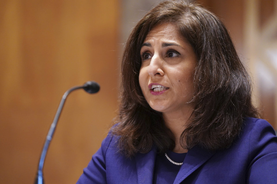 Photo -  Neera Tanden testifies before the Senate Homeland Security and Government Affairs committee on her nomination to become the Director of the Office of Management and Budget (OMB) during a hearing Tuesday on Capitol Hill in Washington. [Leigh Vogel/Pool via The Associated Press]