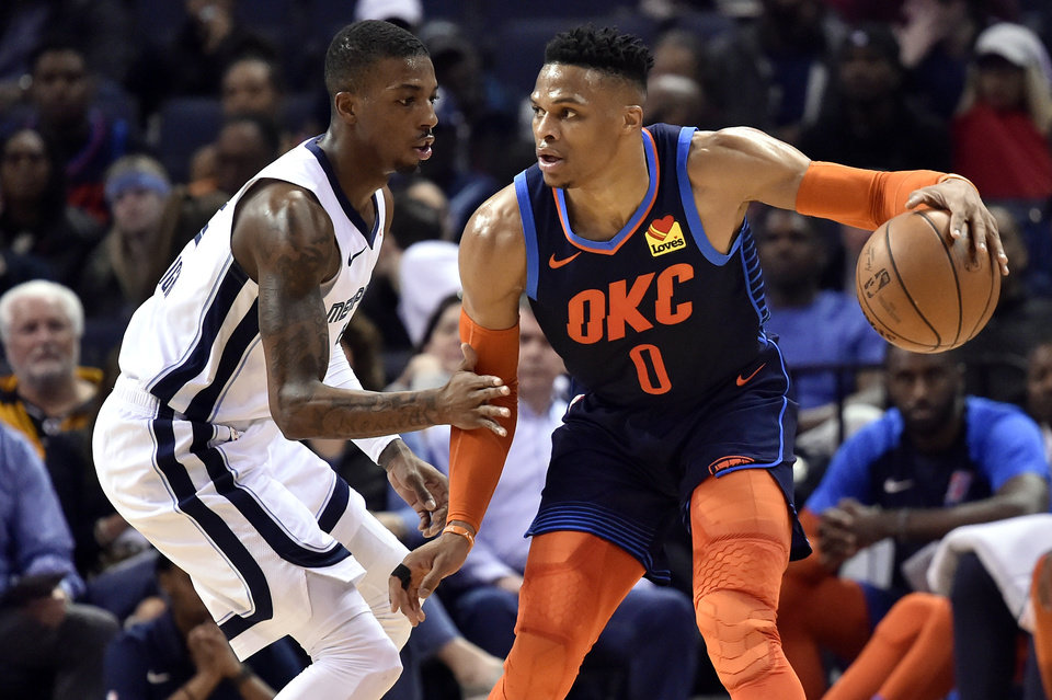 Photo - Oklahoma City Thunder guard Russell Westbrook (0) handles the ball against Memphis Grizzlies guard Delon Wright (2) during the first half of an NBA basketball game Monday, March 25, 2019, in Memphis, Tenn. (AP Photo/Brandon Dill)