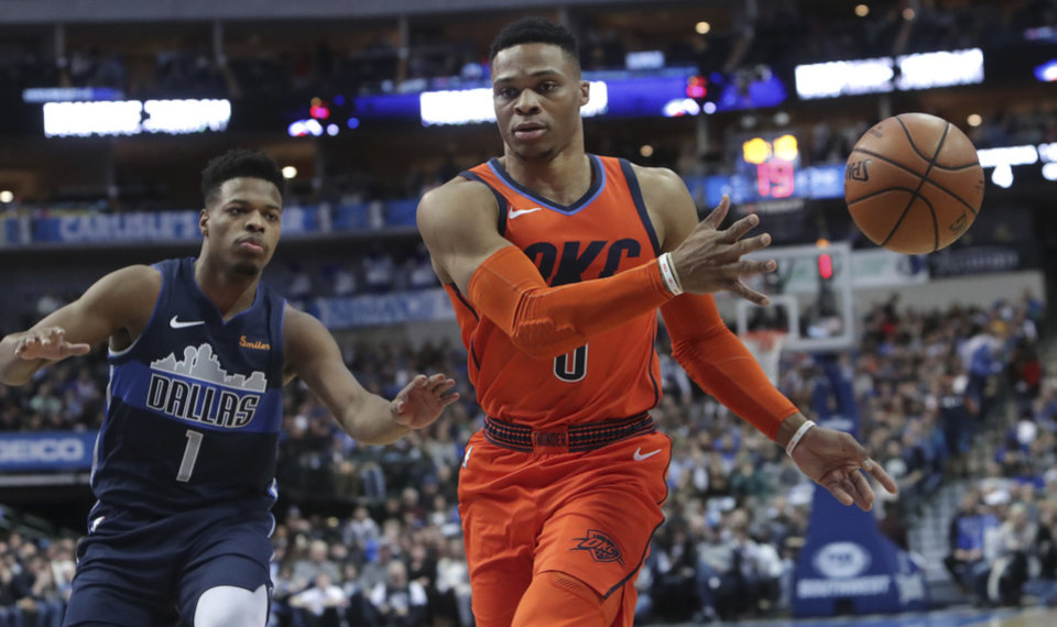 93f75ecfd1e8 Oklahoma City Thunder guard Russell Westbrook (0) passes the ball in front  of Dallas Mavericks guard Dennis Smith Jr. (1) during the first half of an  NBA ...