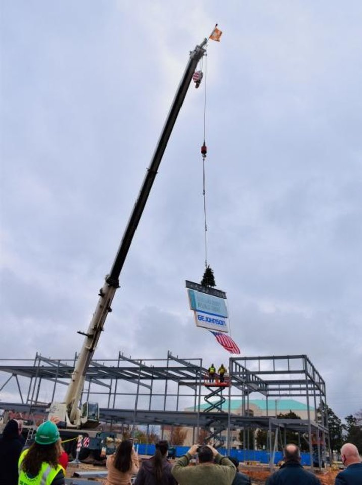 Photo -  Cleveland County began construction in September on the 14,000-square-foot building that will house The Well. A topping out ceremony was held recently at the site. [PHOTO PROVIDED]