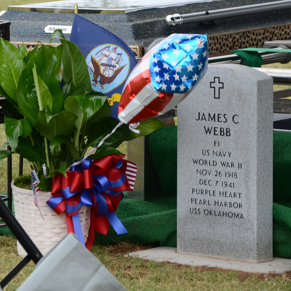 Photo -  On Wednesday afternoon, a graveside memorial was held at Dale Cemetery in Shawnee to honor U.S. Navy Fireman 1st Class James Cecil Webb, who died at Pearl Harbor.