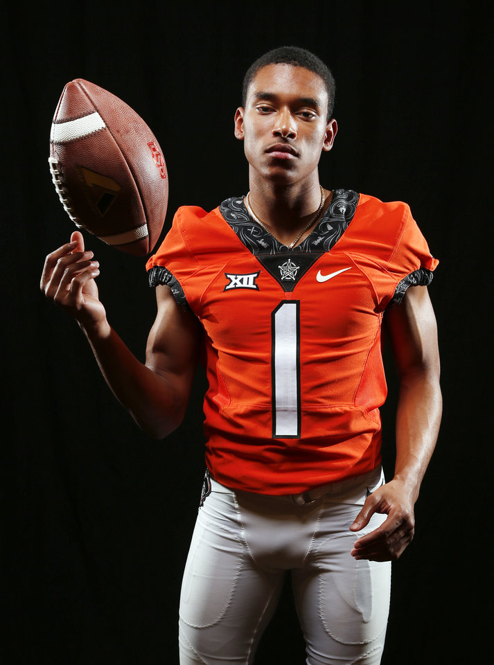 Photo - OSU's Jalen McCleskey during Oklahoma State football media day at Gallagher-Iba Arena in Stillwater, Okla., Saturday, Aug. 4, 2018. Photo by Nate Billings, The Oklahoman