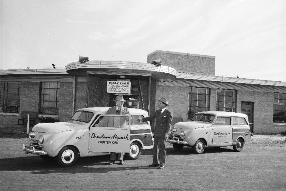 Photo - Shuttle service is introduced at the Downtown Airpark terminal in this undated photo. [PHOTO PROVIDED BY OKLAHOMA HISTORICAL SOCIETY]